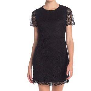 LAUNDRY lace cap sleeve black dress/size 8P